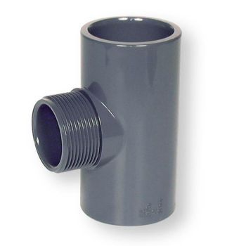 PVCU Tee 90 Deg Plain Socket x BSP Male Thread