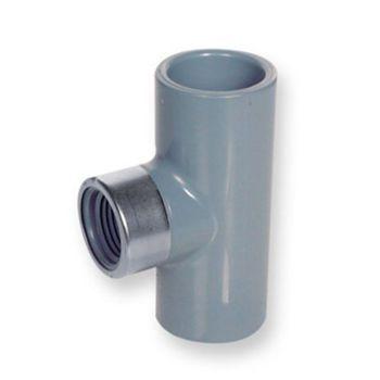 PVC-C Tee 90 Deg Plain x NPT Female Thread St/St Reinforced