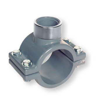 PVC-C Clamp Saddle NPT Female Threaded Outlet FPM O-Ring Stainless Steel Hardware