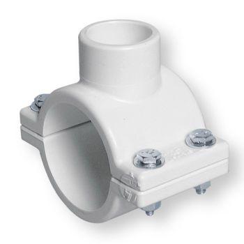 PVCU White Clamp Saddle Zinc Plated Hardware