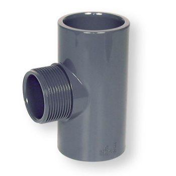 PVCU Tee 90 Deg Plain Socket x BSP Male Thread