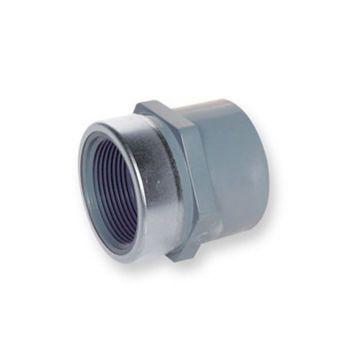 PVC-C Socket Plain x NPT Female Thread St/St Reinforced