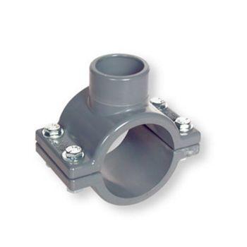 PVC-C Clamp Saddle Plain Socket Outlet FPM O-Ring Stainless Steel Hardware