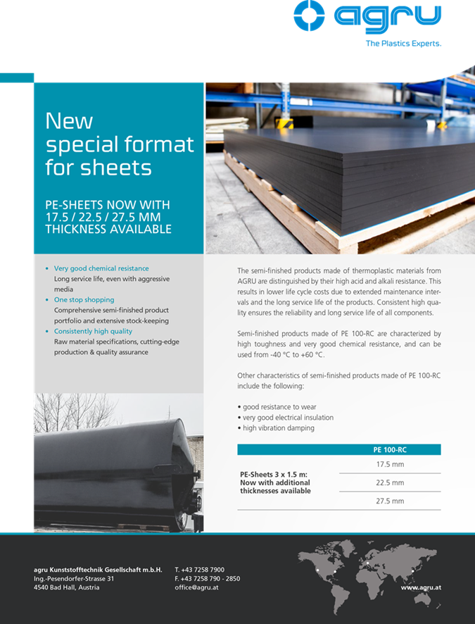 Agru Introduce New Thicknesses of PE sheet